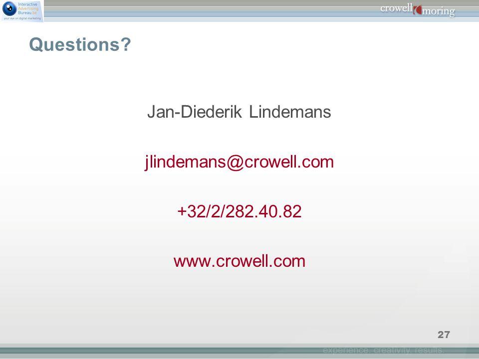 27 Questions Jan-Diederik Lindemans jlindemans@crowell.com +32/2/282.40.82 www.crowell.com