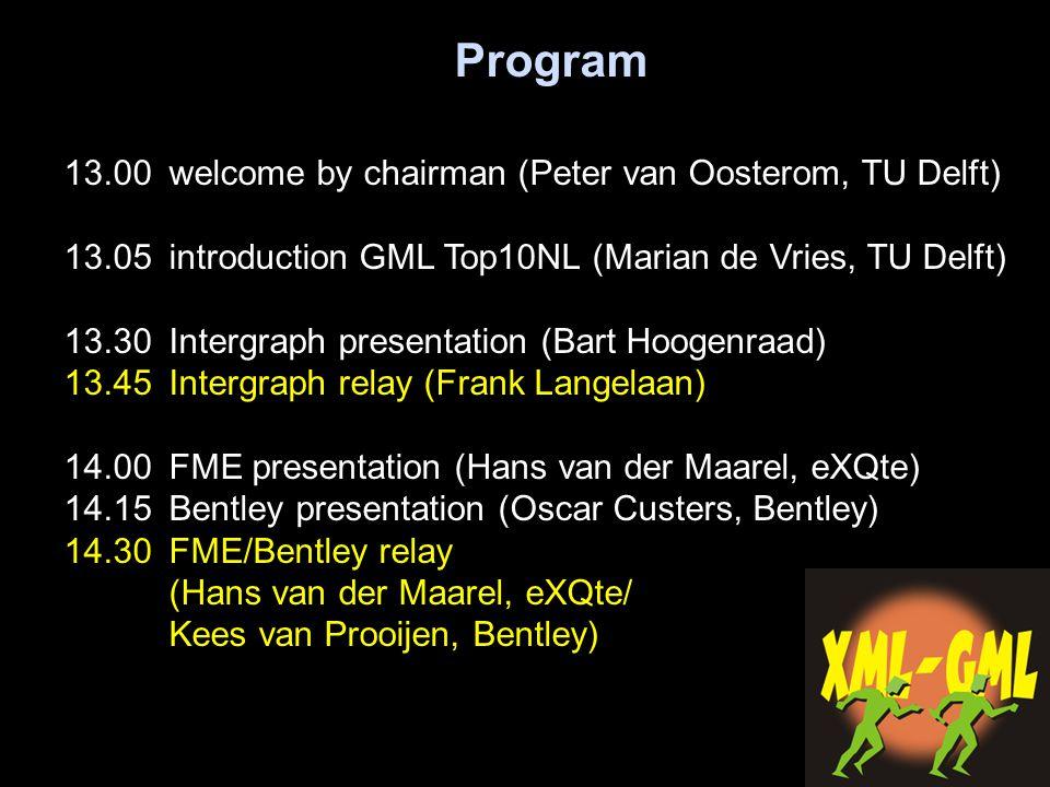 Program 13.00 welcome by chairman (Peter van Oosterom, TU Delft) 13.05introduction GML Top10NL (Marian de Vries, TU Delft) 13.30 Intergraph presentati