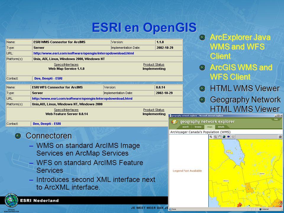 ESRI en OpenGIS Connectoren –WMS on standard ArcIMS Image Services en ArcMap Services –WFS on standard ArcIMS Feature Services –Introduces second XML interface next to ArcXML interface.