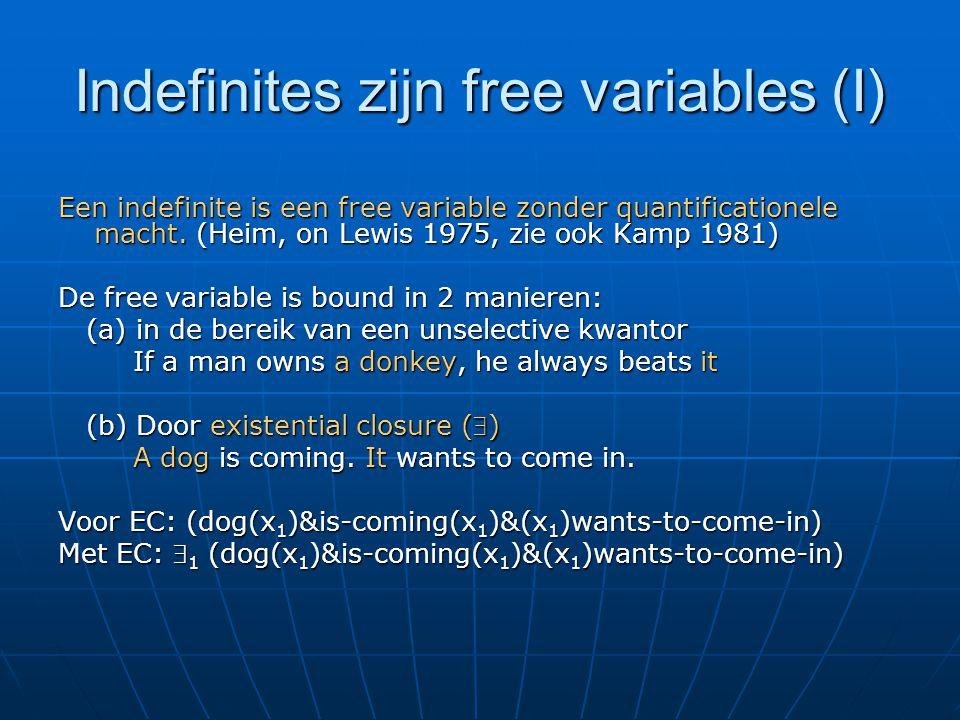 Indefinites zijn free variables (I) Een indefinite is een free variable zonder quantificationele macht.