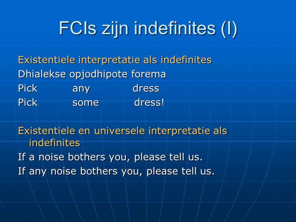 FCIs zijn indefinites (I) Existentiele interpretatie als indefinites Dhialekse opjodhipote forema Pick any dress Pick some dress.