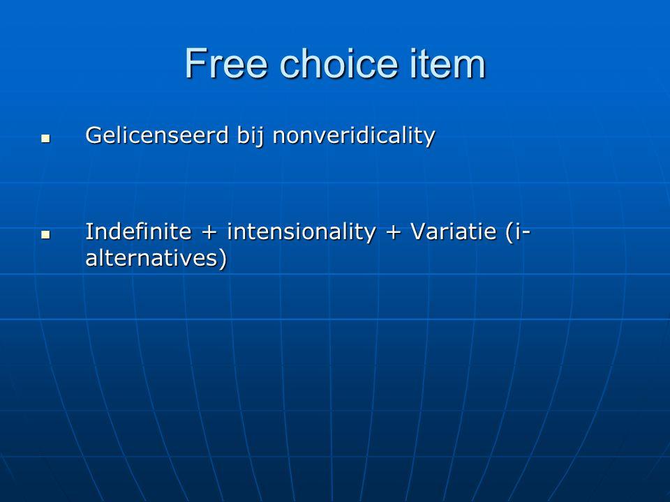 Free choice item Gelicenseerd bij nonveridicality Gelicenseerd bij nonveridicality Indefinite + intensionality + Variatie (i- alternatives) Indefinite + intensionality + Variatie (i- alternatives)