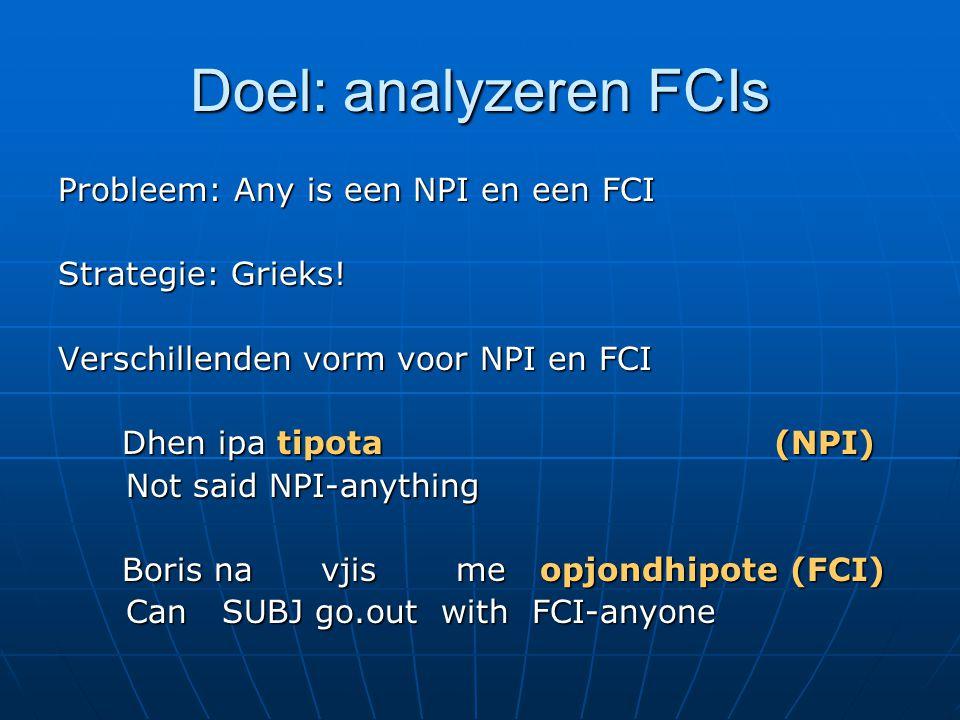Doel: analyzeren FCIs Probleem: Any is een NPI en een FCI Strategie: Grieks.