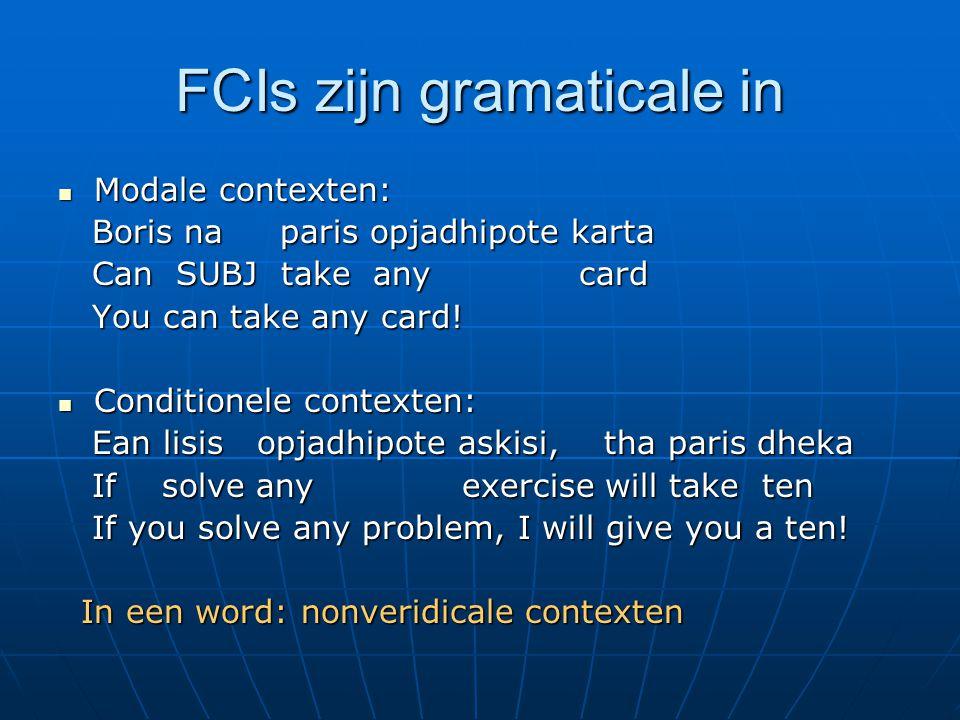 FCIs zijn gramaticale in Modale contexten: Modale contexten: Boris na paris opjadhipote karta Boris na paris opjadhipote karta Can SUBJ take any card Can SUBJ take any card You can take any card.