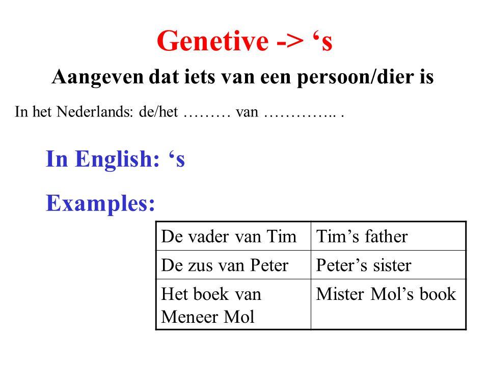 Genetive -> 's Aangeven dat iets van een persoon/dier is In het Nederlands: de/het ……… van …………...