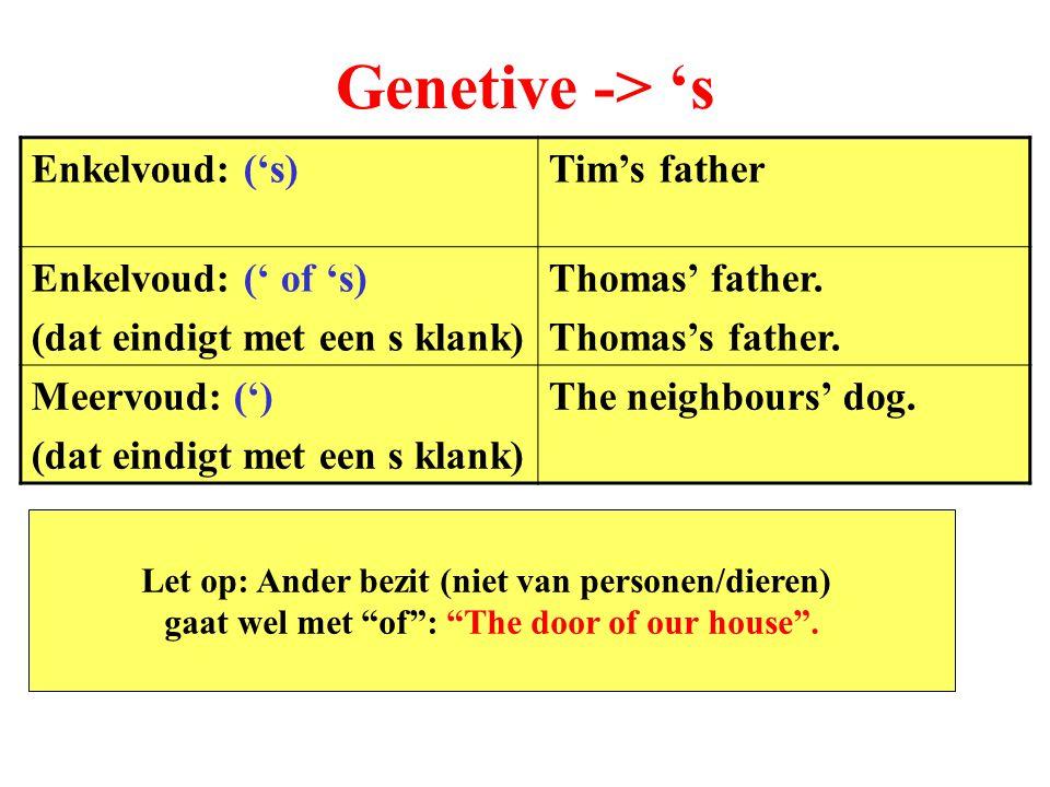 Genetive -> 's Enkelvoud: ('s)Tim's father Enkelvoud: (' of 's) (dat eindigt met een s klank) Thomas' father.