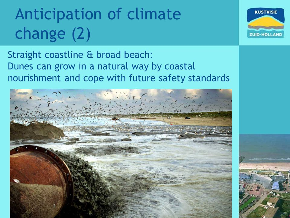 Anticipation of climate change (2) Straight coastline & broad beach: Dunes can grow in a natural way by coastal nourishment and cope with future safety standards