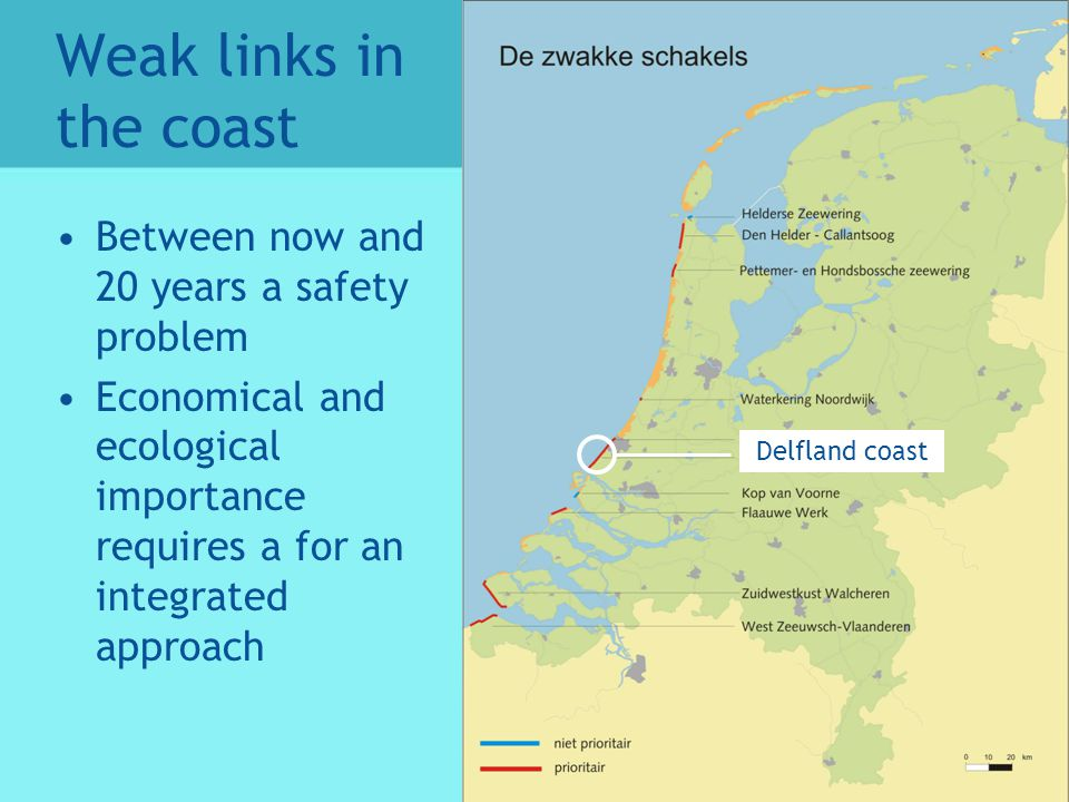 Weak links in the coast Between now and 20 years a safety problem Economical and ecological importance requires a for an integrated approach Delfland coast