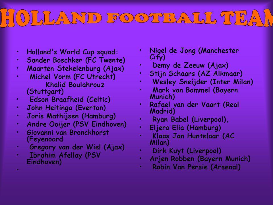 Holland's World Cup squad: Sander Boschker (FC Twente) Maarten Stekelenburg (Ajax) Michel Vorm (FC Utrecht) Khalid Boulahrouz (Stuttgart) Edson Braafh