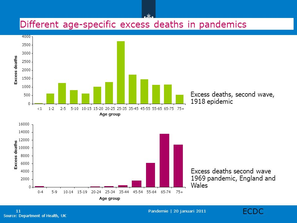Pandemie | 20 januari 2011 11 Different age-specific excess deaths in pandemics 0 2000 4000 6000 8000 10000 12000 14000 16000 0-45-910-1415-1920-2425-