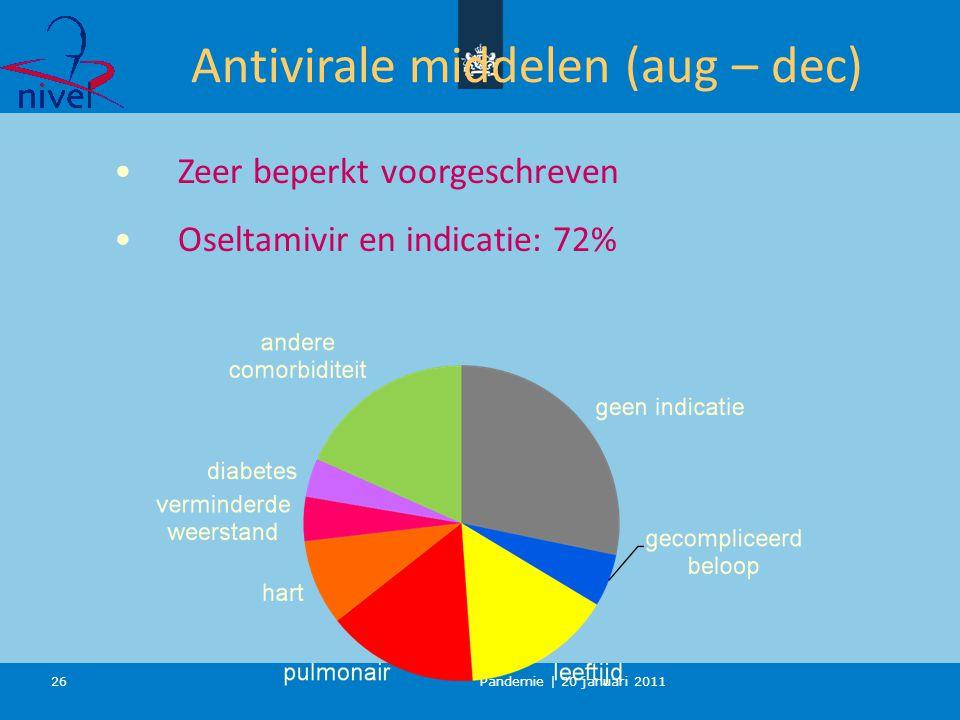 Pandemie | 20 januari 2011 26 Antivirale middelen (aug – dec) Zeer beperkt voorgeschreven Oseltamivir en indicatie: 72%