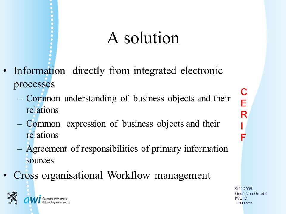 9/11/2005 Geert Van Grootel IWETO Lissabon A solution Information directly from integrated electronic processes –Common understanding of business objects and their relations –Common expression of business objects and their relations –Agreement of responsibilities of primary information sources Cross organisational Workflow management CERIFCERIF