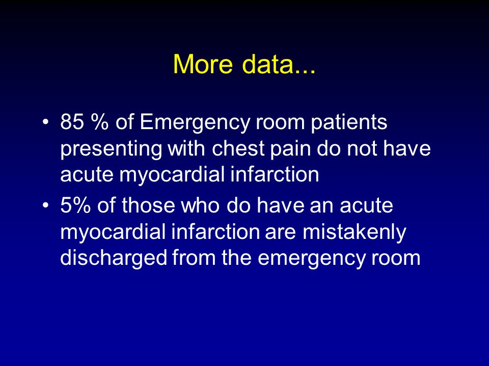 More data... 85 % of Emergency room patients presenting with chest pain do not have acute myocardial infarction 5% of those who do have an acute myoca