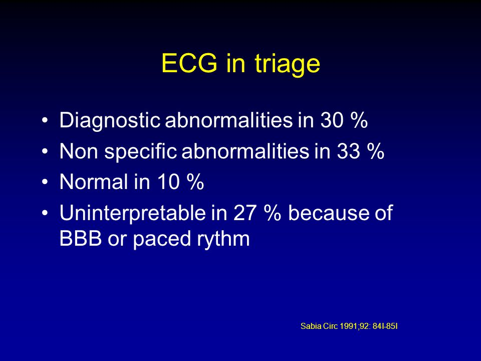 ECG in triage Diagnostic abnormalities in 30 % Non specific abnormalities in 33 % Normal in 10 % Uninterpretable in 27 % because of BBB or paced rythm