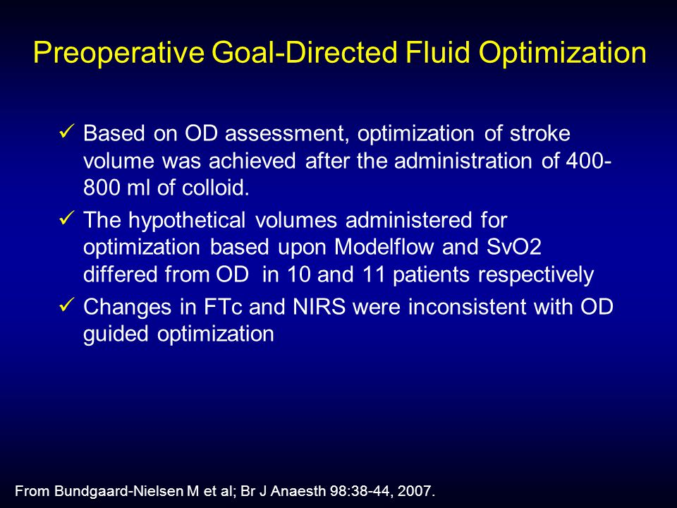 Preoperative Goal-Directed Fluid Optimization Based on OD assessment, optimization of stroke volume was achieved after the administration of 400- 800 ml of colloid.