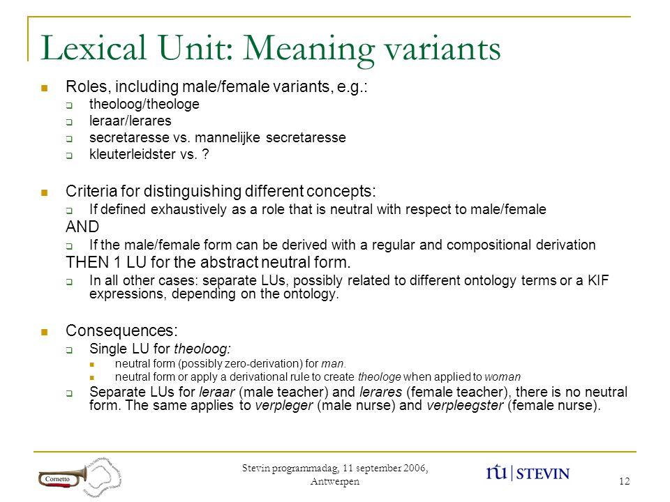 Stevin programmadag, 11 september 2006, Antwerpen 12 Lexical Unit: Meaning variants Roles, including male/female variants, e.g.:  theoloog/theologe 