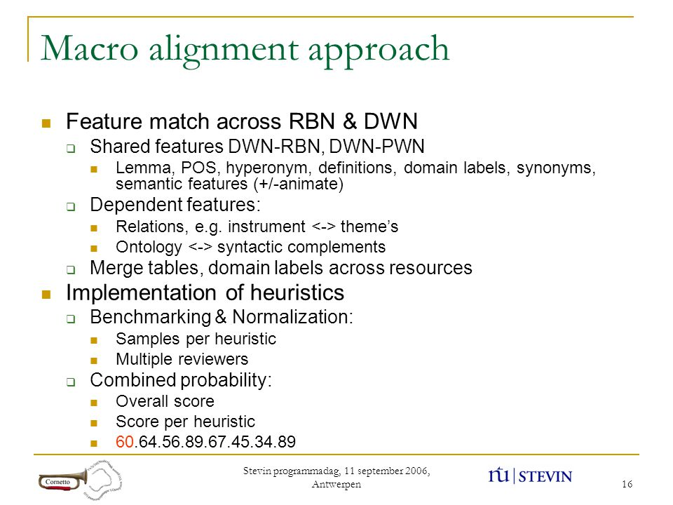 Stevin programmadag, 11 september 2006, Antwerpen 16 Macro alignment approach Feature match across RBN & DWN  Shared features DWN-RBN, DWN-PWN Lemma, POS, hyperonym, definitions, domain labels, synonyms, semantic features (+/-animate)  Dependent features: Relations, e.g.