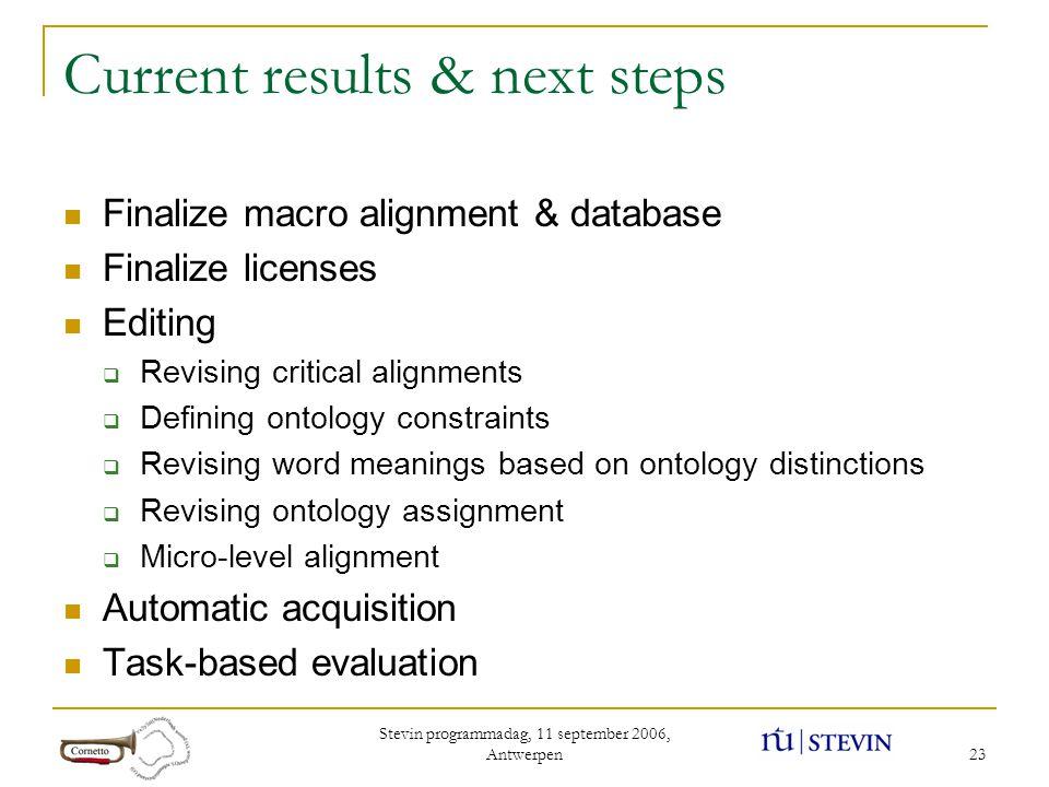 Stevin programmadag, 11 september 2006, Antwerpen 23 Current results & next steps Finalize macro alignment & database Finalize licenses Editing  Revi