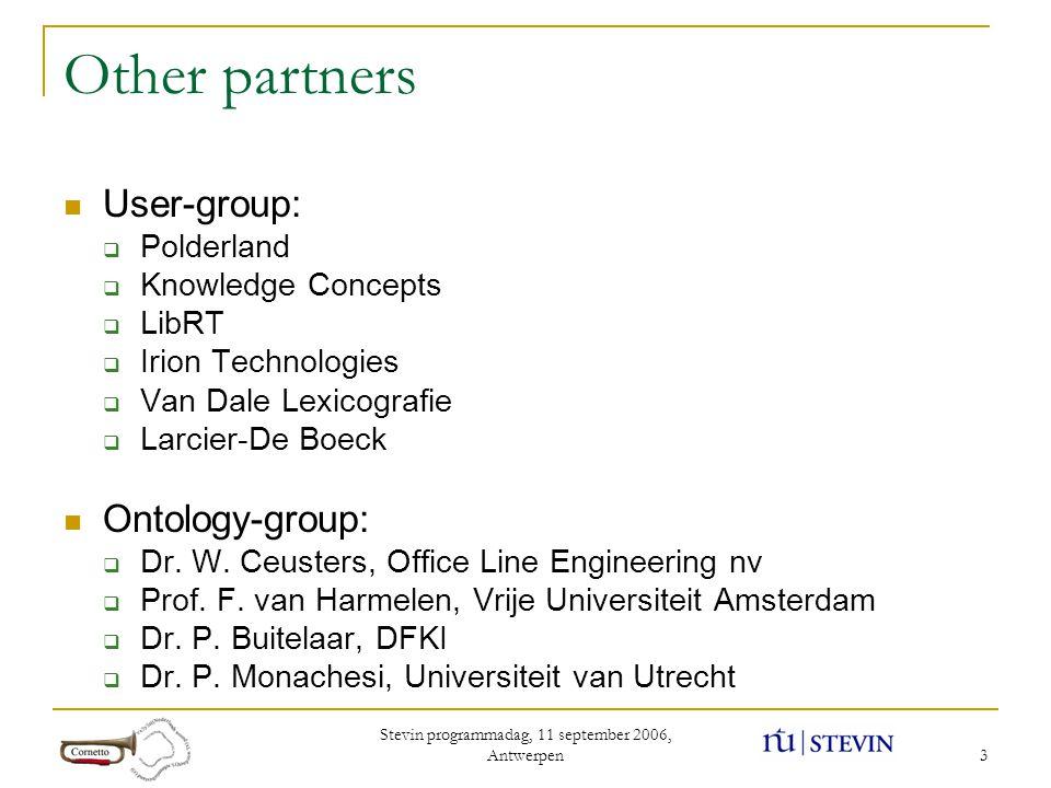 Stevin programmadag, 11 september 2006, Antwerpen 3 Other partners User-group:  Polderland  Knowledge Concepts  LibRT  Irion Technologies  Van Da