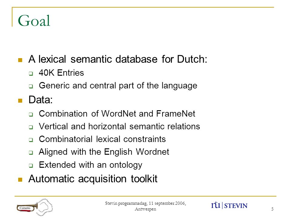 Stevin programmadag, 11 september 2006, Antwerpen 5 Goal A lexical semantic database for Dutch:  40K Entries  Generic and central part of the language Data:  Combination of WordNet and FrameNet  Vertical and horizontal semantic relations  Combinatorial lexical constraints  Aligned with the English Wordnet  Extended with an ontology Automatic acquisition toolkit