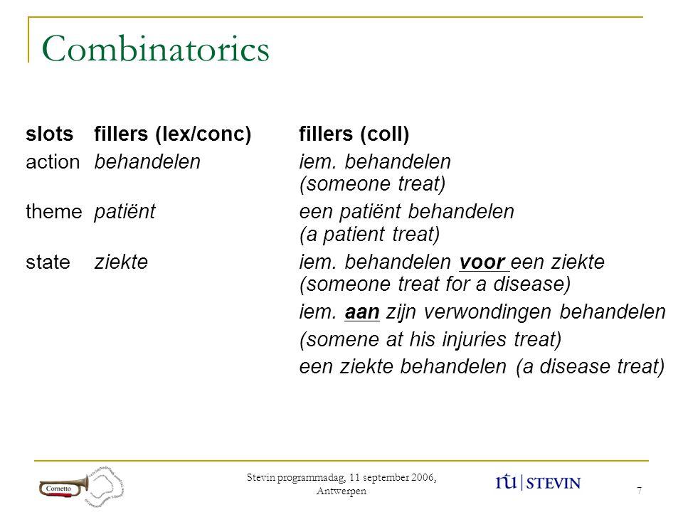 Stevin programmadag, 11 september 2006, Antwerpen 7 Combinatorics slotsfillers (lex/conc)fillers (coll) actionbehandeleniem. behandelen (someone treat