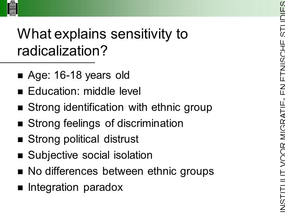 INSTITUUT VOOR MIGRATIE- EN ETNISCHE STUDIES What explains sensitivity to radicalization.