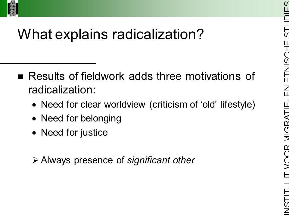 INSTITUUT VOOR MIGRATIE- EN ETNISCHE STUDIES What explains radicalization.