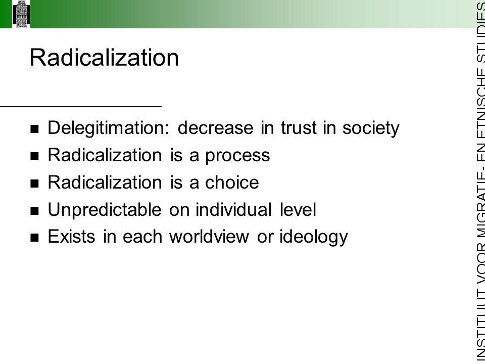 INSTITUUT VOOR MIGRATIE- EN ETNISCHE STUDIES Delegitimation: decrease in trust in society Radicalization is a process Radicalization is a choice Unpredictable on individual level Exists in each worldview or ideology Radicalization