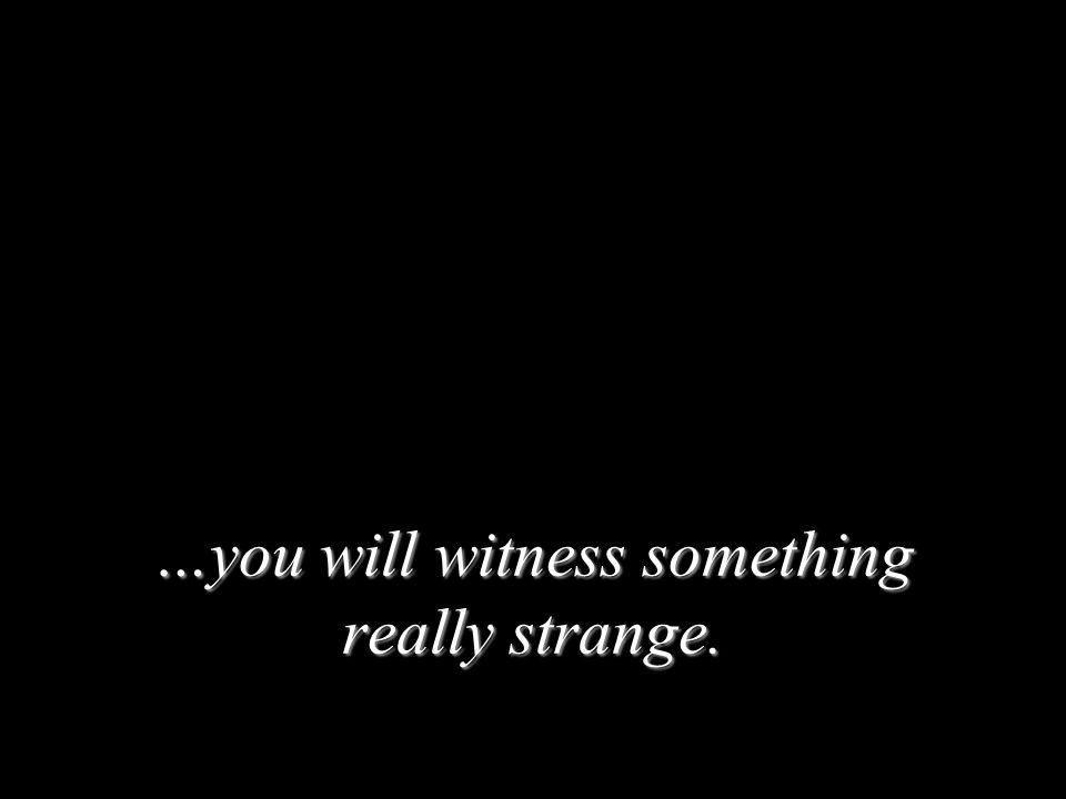 …you will witness something really strange.