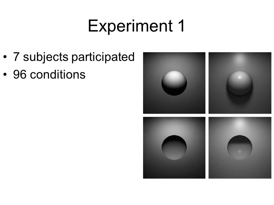 Experiment 1 7 subjects participated 96 conditions