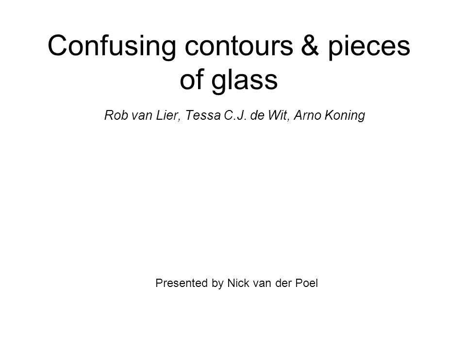 Confusing contours & pieces of glass Rob van Lier, Tessa C.J.