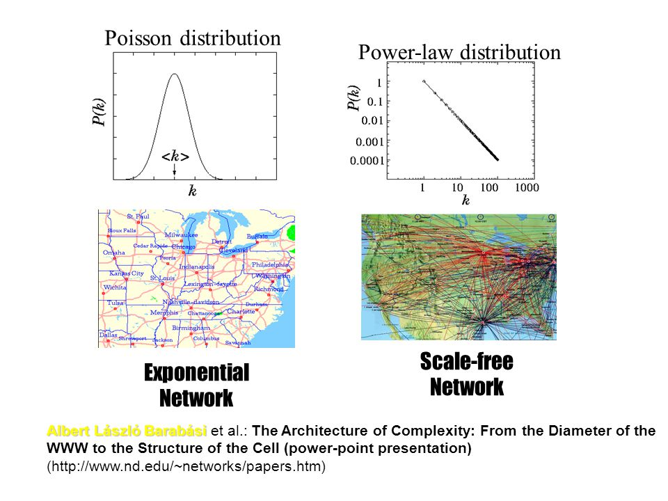 Poisson distribution Exponential Network Power-law distribution Scale-free Network Albert László Barabási Albert László Barabási et al.: The Architecture of Complexity: From the Diameter of the WWW to the Structure of the Cell (power-point presentation) (http://www.nd.edu/~networks/papers.htm)