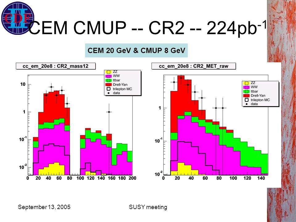 September 13, 2005SUSY meeting CEM CMUP -- CR2 -- 224pb -1 CEM 20 GeV & CMUP 8 GeV