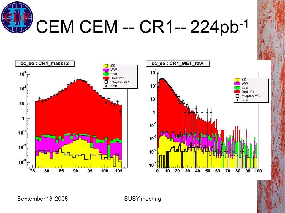 September 13, 2005SUSY meeting CEM CEM -- CR1-- 224pb -1