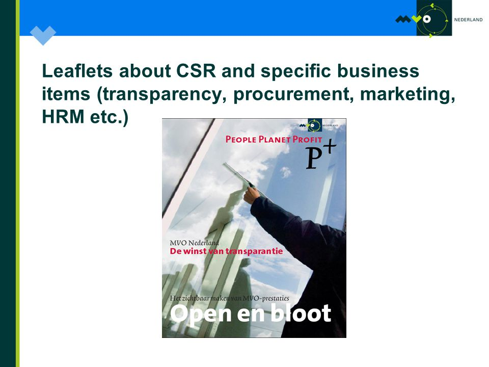 Leaflets about CSR and specific business items (transparency, procurement, marketing, HRM etc.)