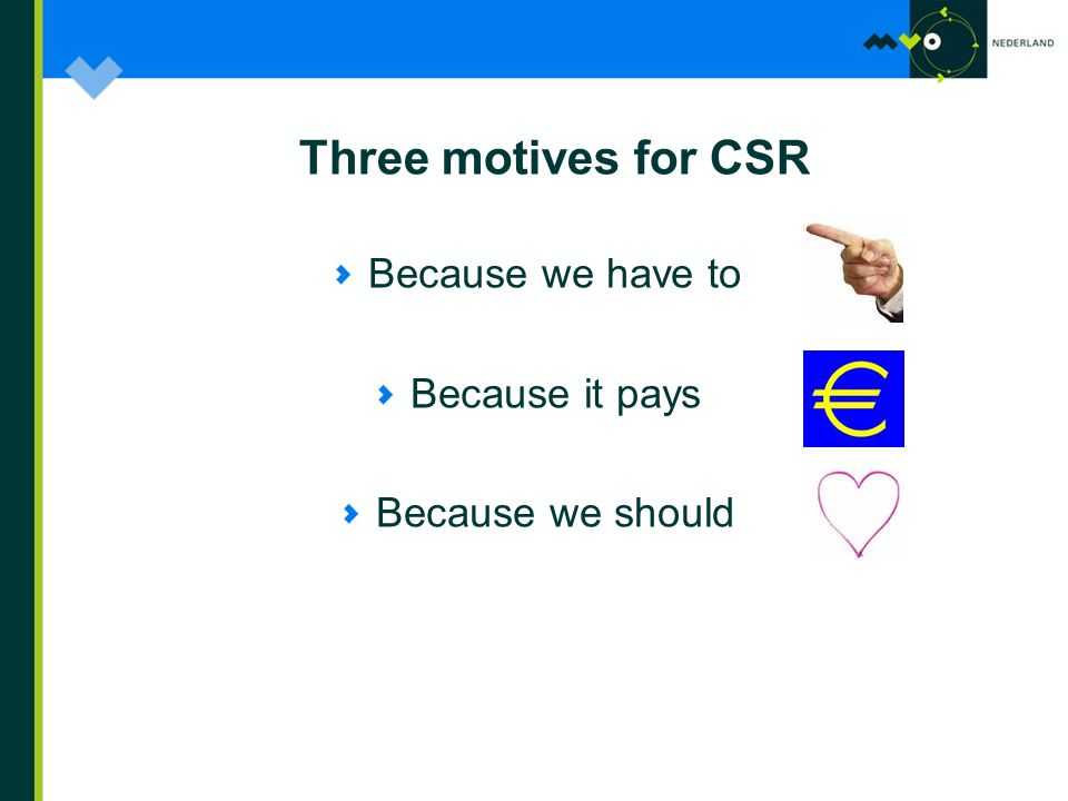 Three motives for CSR Because we have to Because it pays Because we should