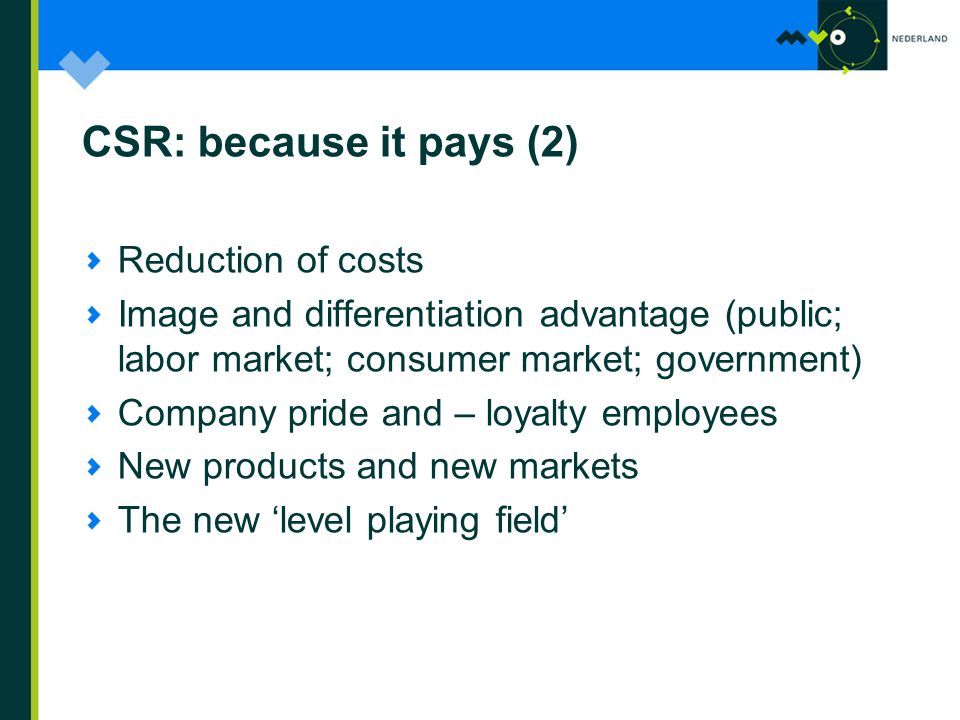 CSR: because it pays (2) Reduction of costs Image and differentiation advantage (public; labor market; consumer market; government) Company pride and – loyalty employees New products and new markets The new 'level playing field'