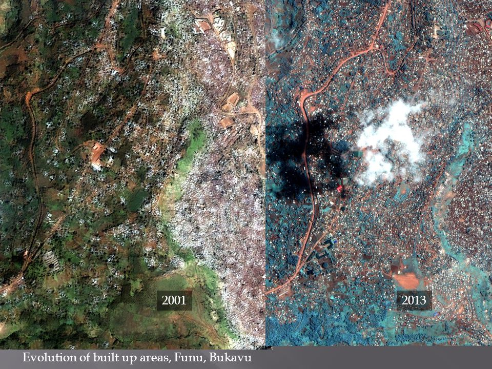 2001 2013 Evolution of built up areas, Funu, Bukavu