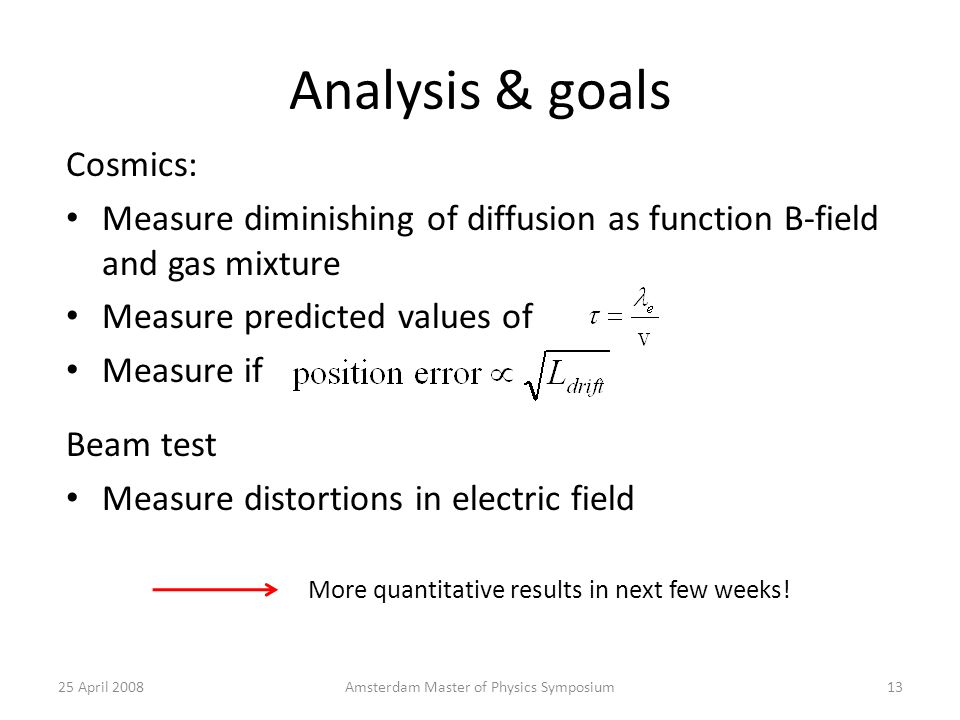 Analysis & goals Cosmics: Measure diminishing of diffusion as function B-field and gas mixture Measure predicted values of Measure if 25 April 2008Amsterdam Master of Physics Symposium13 More quantitative results in next few weeks.