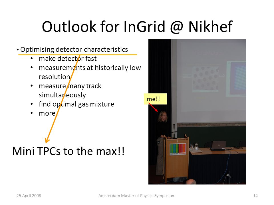 Outlook for Nikhef 25 April 2008Amsterdam Master of Physics Symposium14 Optimising detector characteristics make detector fast measurements at historically low resolution measure many track simultaneously find optimal gas mixture more..