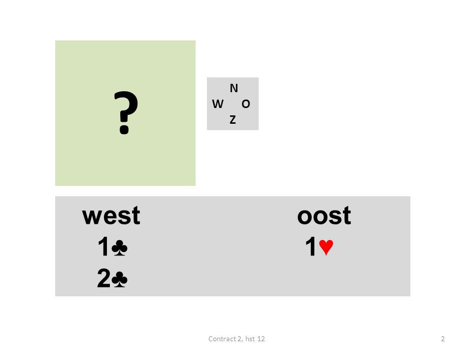? N W O Z westoost 1♣ 1♥ 2♣ 2Contract 2, hst 12