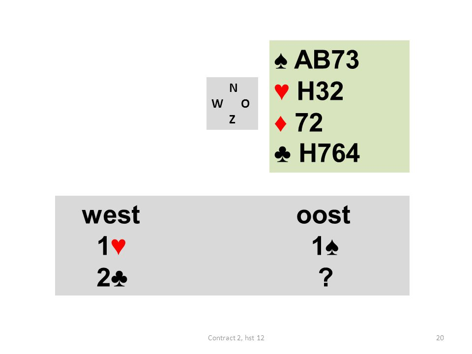N W O Z westoost 1♥ 1♠ 2♣ ? 20Contract 2, hst 12 ♠ AB73 ♥ H32 ♦ 72 ♣ H764