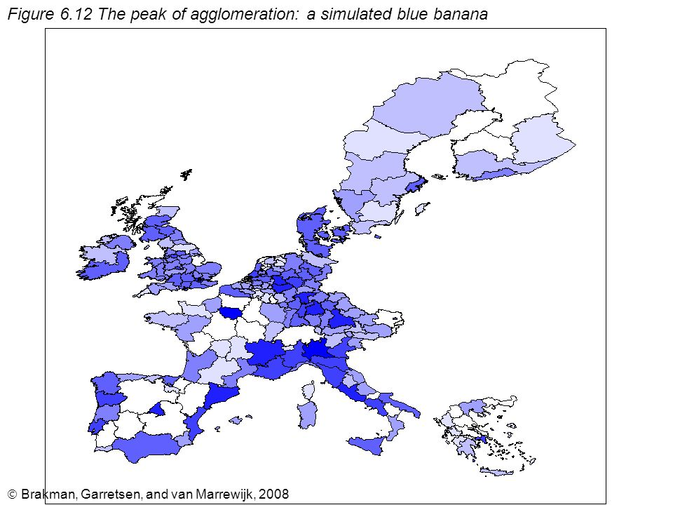  Brakman, Garretsen, and van Marrewijk, 2008 Figure 6.12 The peak of agglomeration: a simulated blue banana