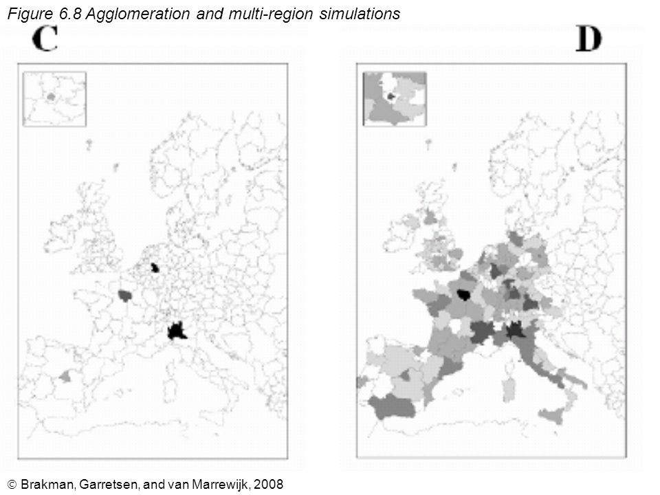  Brakman, Garretsen, and van Marrewijk, 2008 Figure 6.8 Agglomeration and multi-region simulations