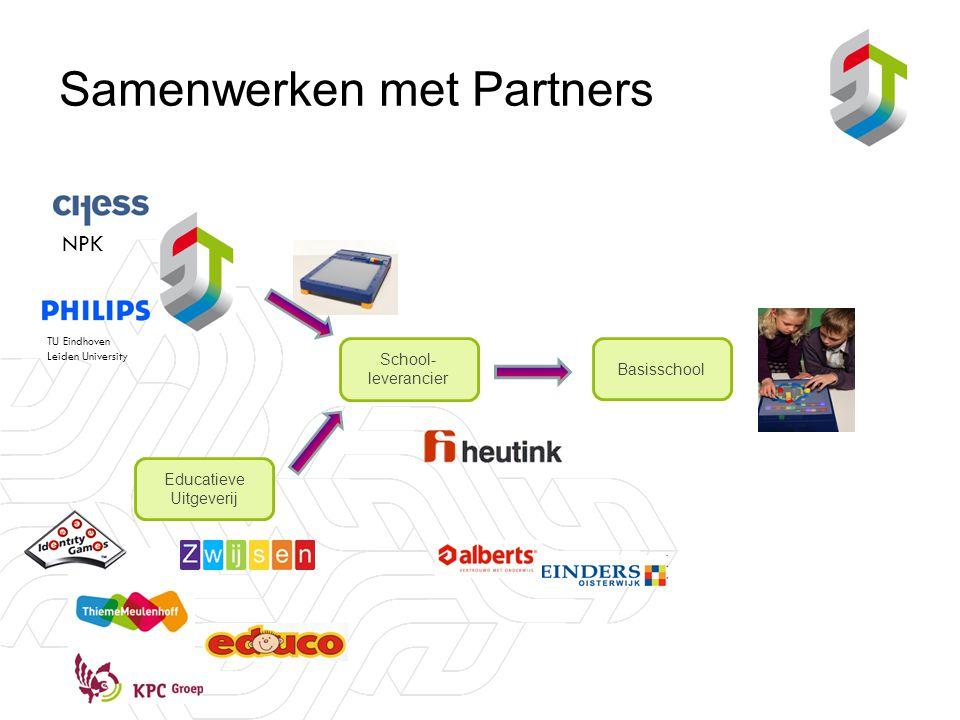 Samenwerken met Partners Educatieve Uitgeverij School- leverancier Basisschool TU Eindhoven Leiden University NPK