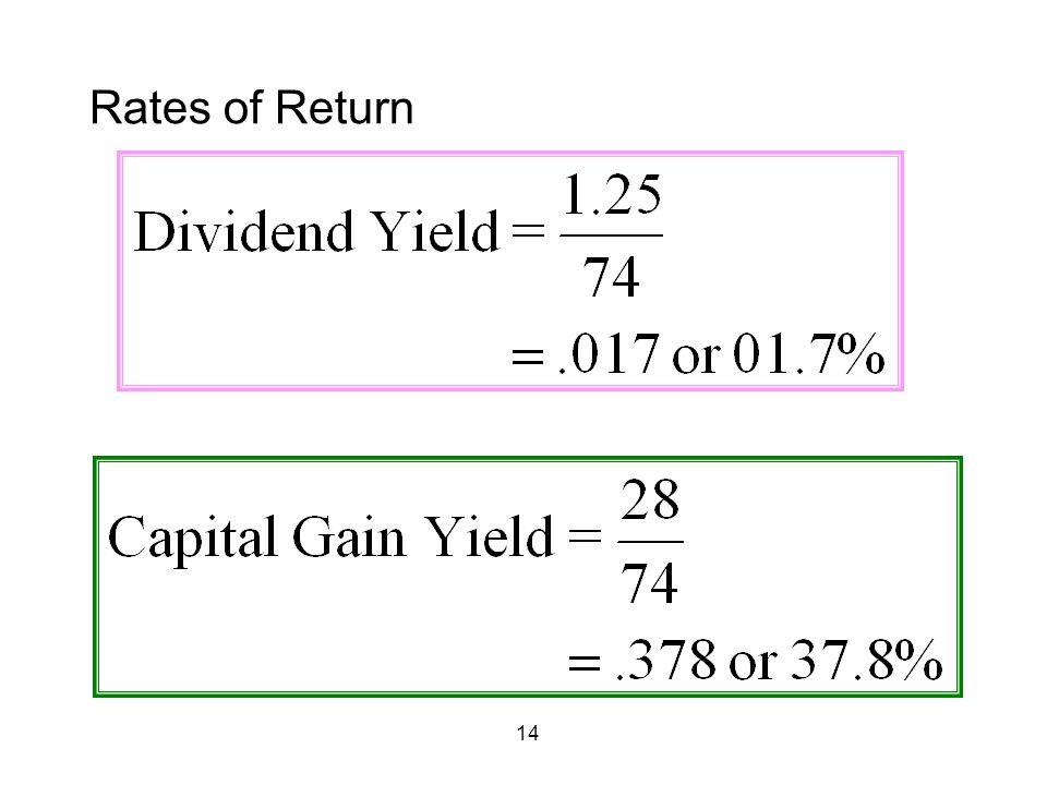 14 Rates of Return