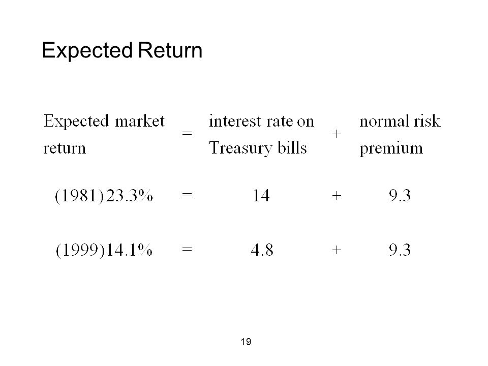 19 Expected Return