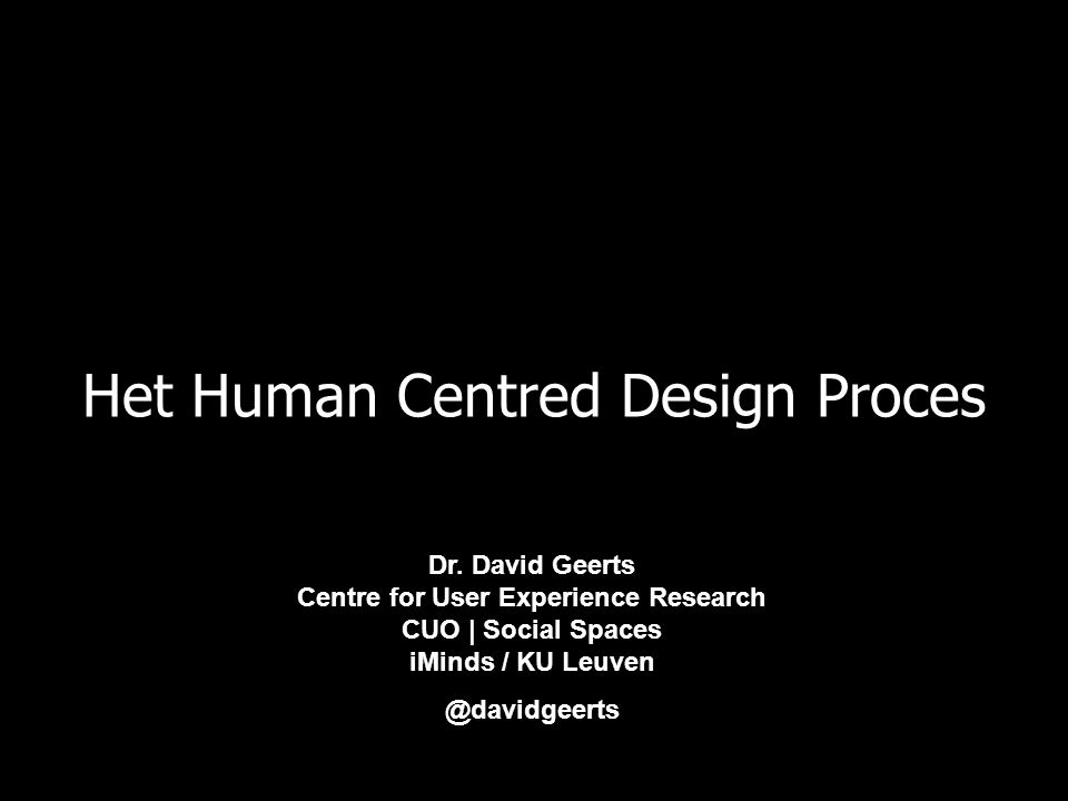Het Human Centred Design Proces Dr.
