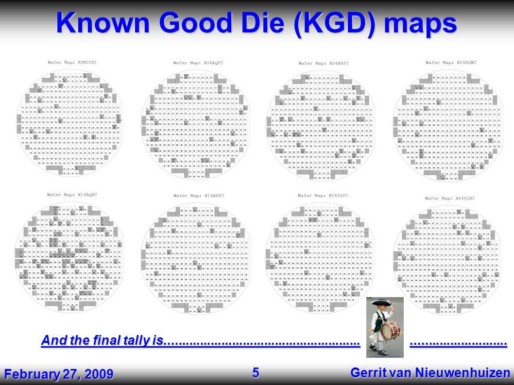 Known Good Die (KGD) maps Gerrit van Nieuwenhuizen 5 And the final tally is..................................................................................