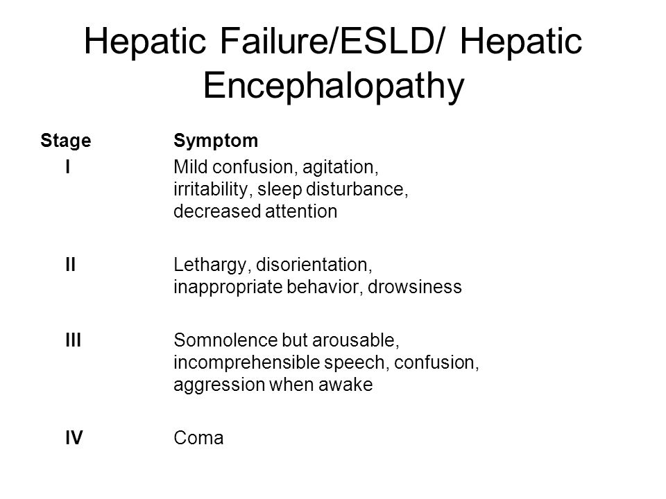Hepatic Failure/ESLD/ Hepatic Encephalopathy StageSymptom IMild confusion, agitation, irritability, sleep disturbance, decreased attention IILethargy, disorientation, inappropriate behavior, drowsiness IIISomnolence but arousable, incomprehensible speech, confusion, aggression when awake IVComa